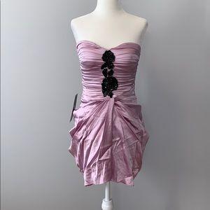 Bebe Silk Pink Strapless Mini Dress w/ Sequins XS